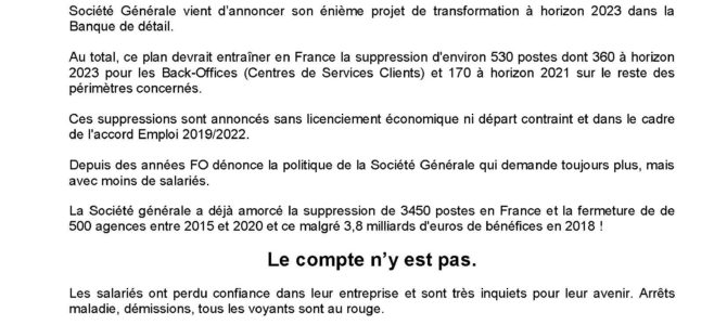 530 postes supprimés à la SOCIETE GENERALE