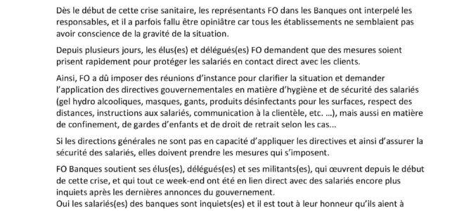COVID19- Pour FO Banques, la priorité est la santé des salariés(es)!!!